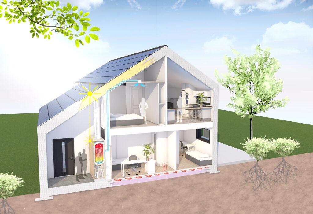 Hus med solceller på taket
